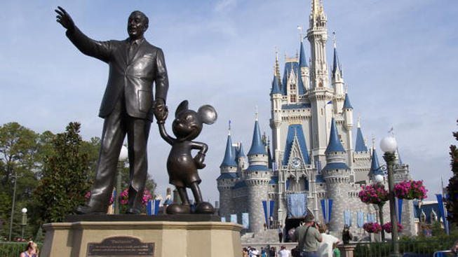 Magic_Kingdom_Castle_with_Walt_Disney_statue_closeup_image_