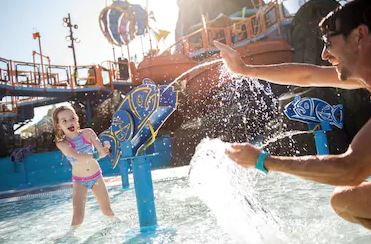Once An Exotic Coral Reef Beneath The Ocean, Runamukka Reef™ Is Now A Favorite Play Place For Young Waturi Children With Its Bubbling Geysers, Water Guns, Slides And Dump Cups. Shaded By Fanciful Bamboo Sea Creatures And Waving Seaweed, This Whimsical Play Structure Is The Most Playful Spot In Universal's Volcano Bay™.